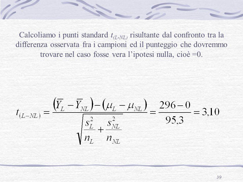 39 Calcoliamo i punti standard t (L-NL) risultante dal confronto tra la differenza osservata fra i campioni ed il punteggio che dovremmo trovare nel c