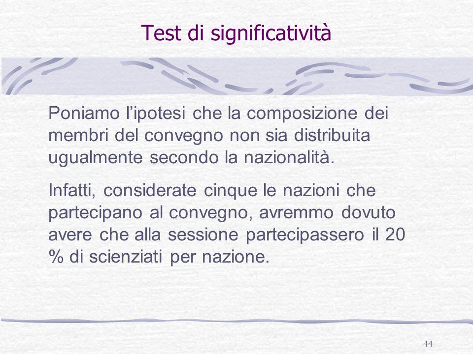 44 Test di significatività Poniamo l'ipotesi che la composizione dei membri del convegno non sia distribuita ugualmente secondo la nazionalità. Infatt