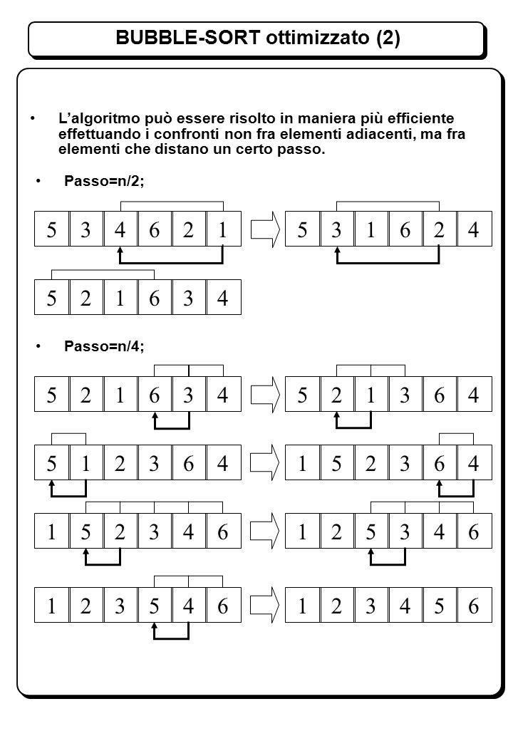 BUBBLE-SORT ottimizzato (2) L'algoritmo può essere risolto in maniera più efficiente effettuando i confronti non fra elementi adiacenti, ma fra elementi che distano un certo passo.