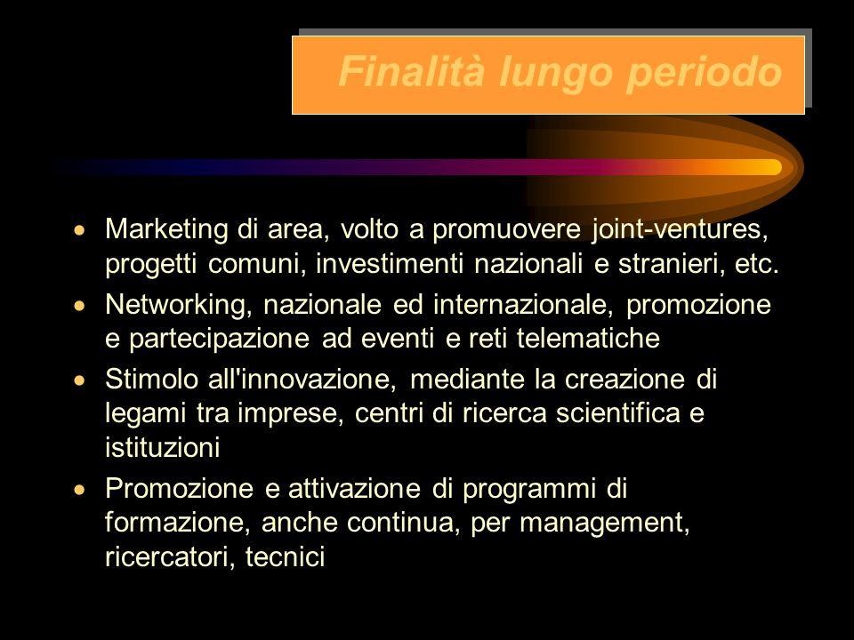 Finalità a breve periodo  Ideazione, ricezione e diffusione di progetti innovativi  Sostegno di nuove iniziative imprenditoriali  Creazione di reti