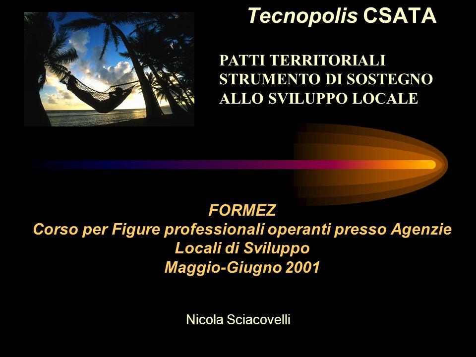 Tecnopolis CSATA Nicola Sciacovelli maggio 2001 PATTI TERRITORIALI