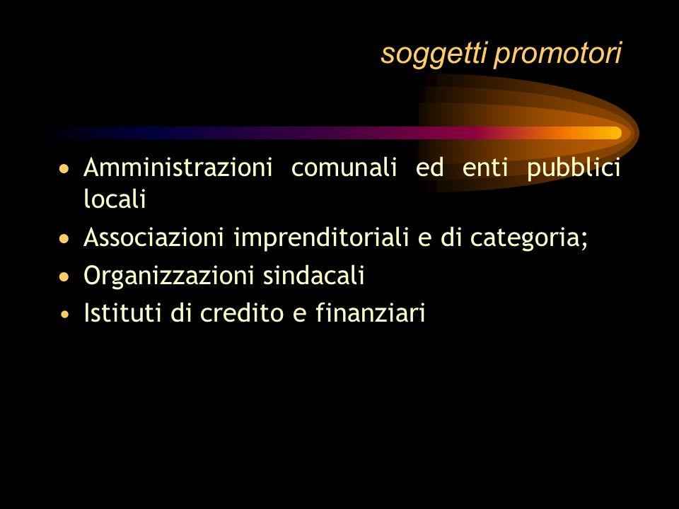 soggetti promotori Enti locali altri soggetti pubblici operanti a livello locale rappresentanze locali delle categorie imprenditoriali e dei lavorator