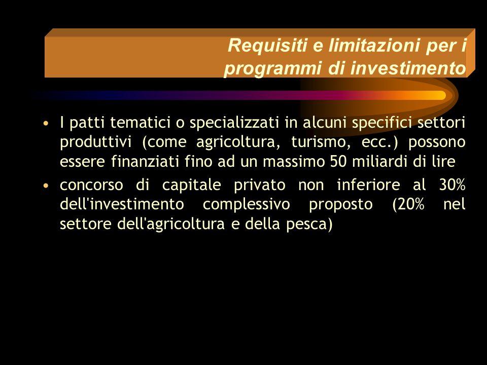 Requisiti e limitazioni per i programmi di investimento I programmi di investimento imprenditoriali devono riguardare iniziative relative ai settori: