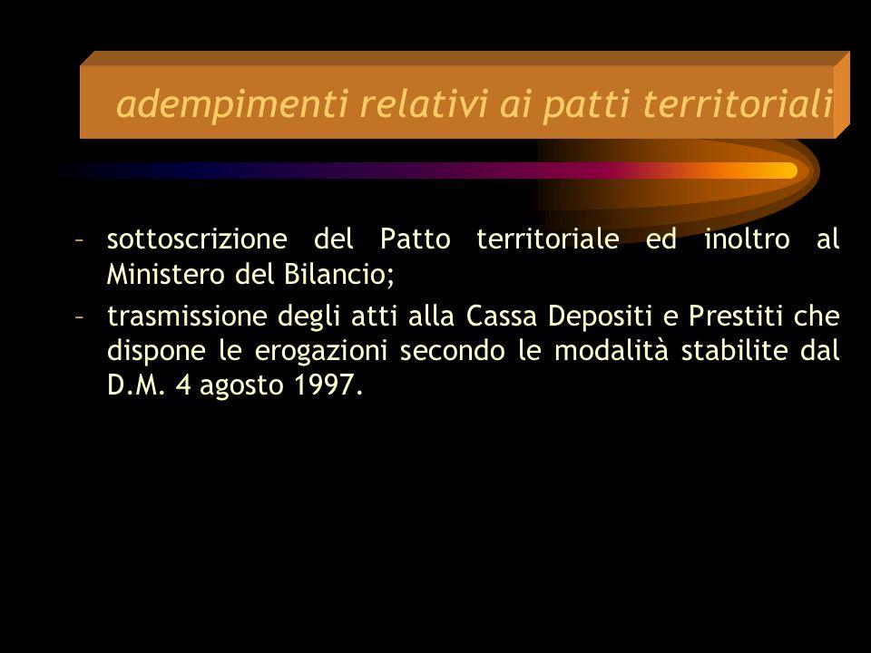 adempimenti relativi ai patti territoriali –predisposizione di un programma operativo e costituzione del Comitato di Verifica e Coordinamento –raccolt