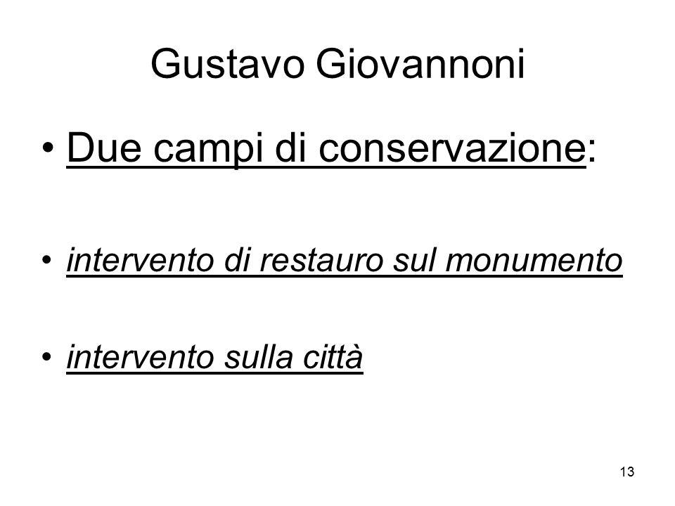 13 Gustavo Giovannoni Due campi di conservazione: intervento di restauro sul monumento intervento sulla città