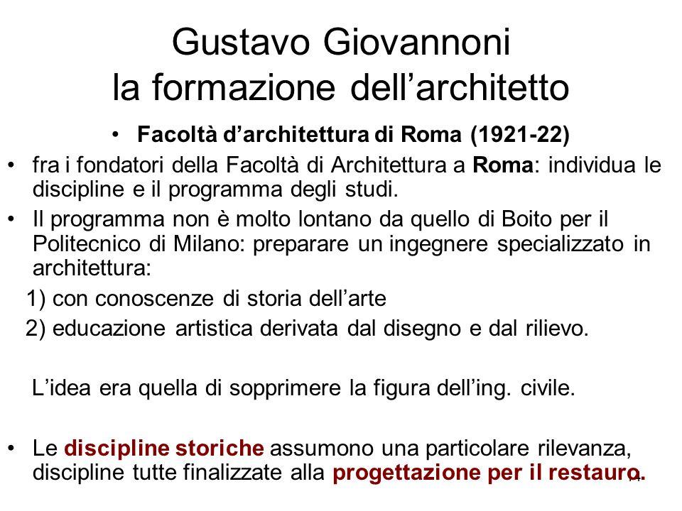 14 Gustavo Giovannoni la formazione dell'architetto Facoltà d'architettura di Roma (1921-22) fra i fondatori della Facoltà di Architettura a Roma: ind