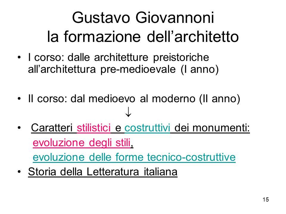 15 Gustavo Giovannoni la formazione dell'architetto I corso: dalle architetture preistoriche all'architettura pre-medioevale (I anno) II corso: dal me