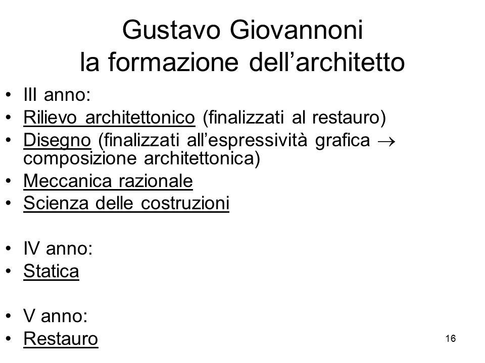 16 Gustavo Giovannoni la formazione dell'architetto III anno: Rilievo architettonico (finalizzati al restauro) Disegno (finalizzati all'espressività g