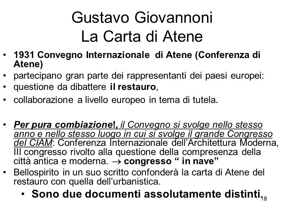 18 Gustavo Giovannoni La Carta di Atene 1931 Convegno Internazionale di Atene (Conferenza di Atene) partecipano gran parte dei rappresentanti dei paes
