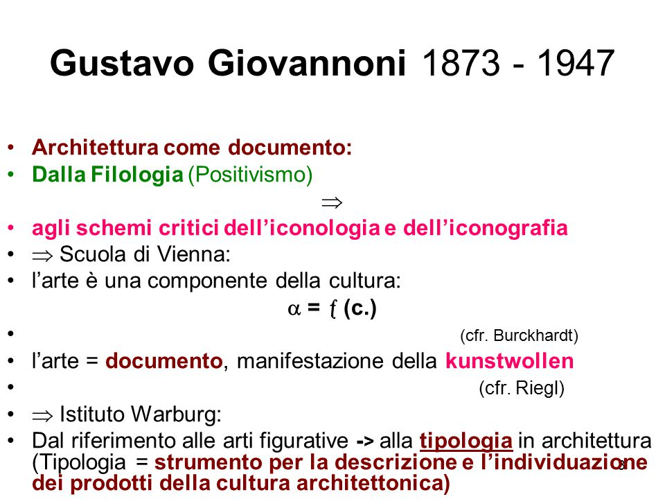 3 Gustavo Giovannoni 1873 - 1947 Architettura come documento: Dalla Filologia (Positivismo)  agli schemi critici dell'iconologia e dell'iconografia 