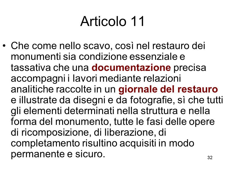 32 Articolo 11 Che come nello scavo, così nel restauro dei monumenti sia condizione essenziale e tassativa che una documentazione precisa accompagni i
