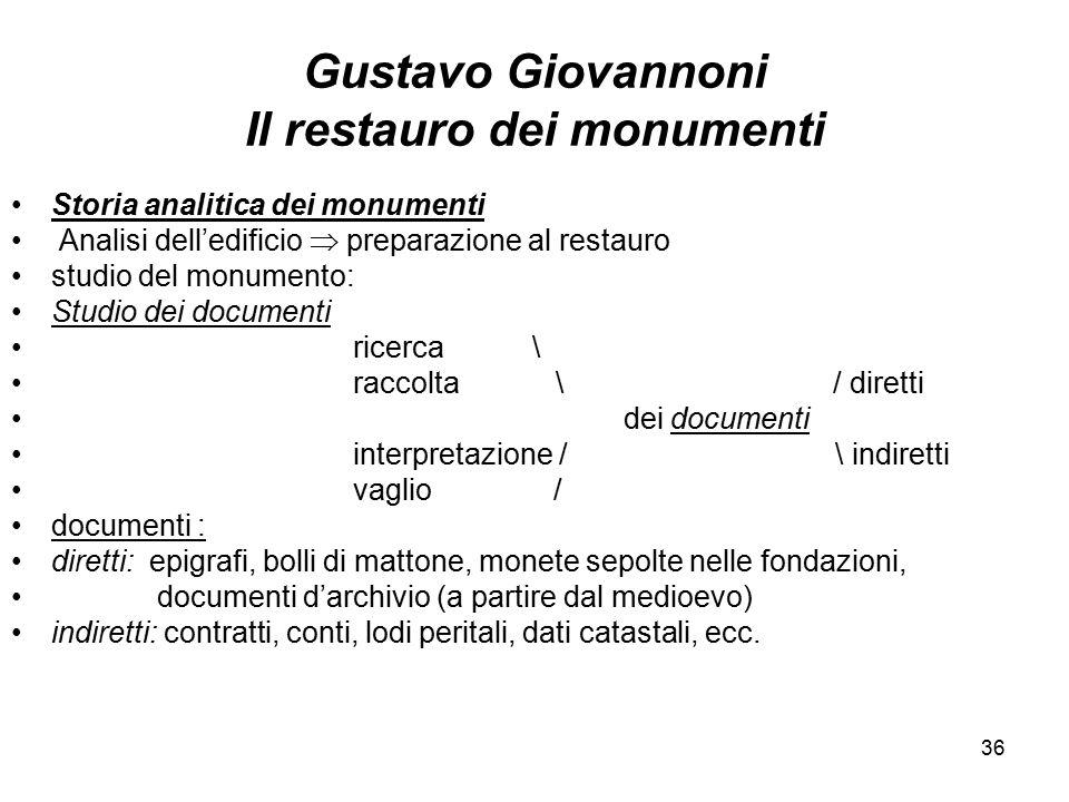 36 Gustavo Giovannoni Il restauro dei monumenti Storia analitica dei monumenti Analisi dell'edificio  preparazione al restauro studio del monumento: