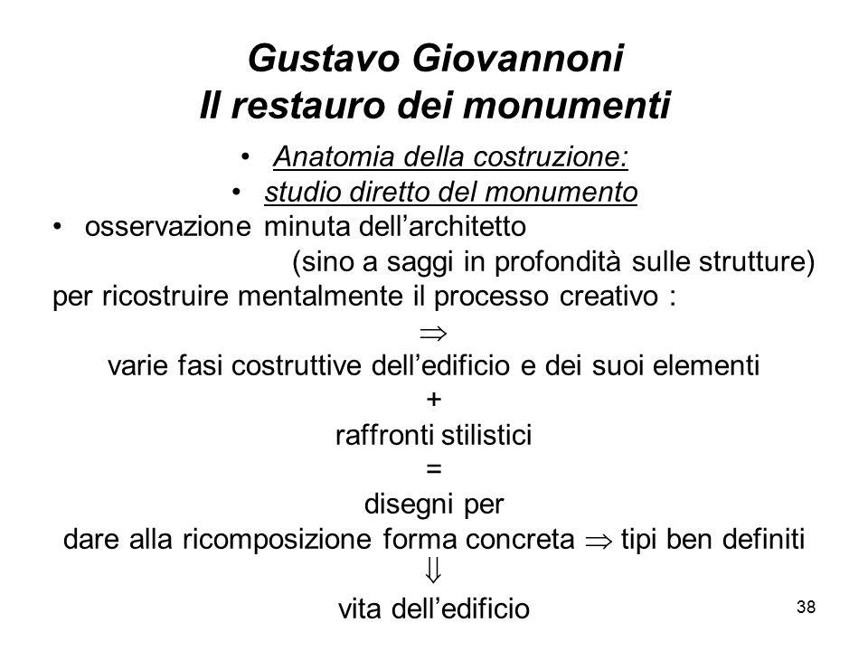 38 Gustavo Giovannoni Il restauro dei monumenti Anatomia della costruzione: studio diretto del monumento osservazione minuta dell'architetto (sino a s