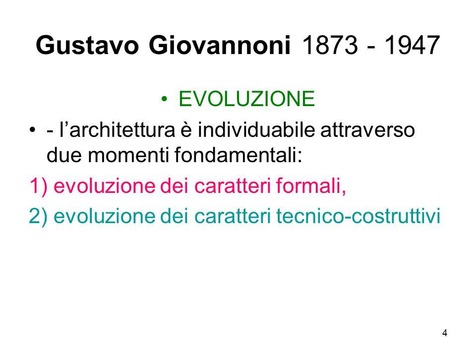 4 Gustavo Giovannoni 1873 - 1947 EVOLUZIONE - l'architettura è individuabile attraverso due momenti fondamentali: 1) evoluzione dei caratteri formali,