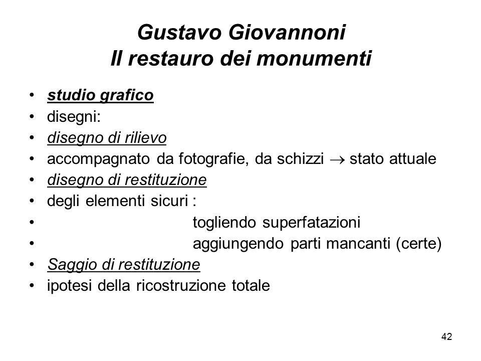 42 Gustavo Giovannoni Il restauro dei monumenti studio grafico disegni: disegno di rilievo accompagnato da fotografie, da schizzi  stato attuale dise