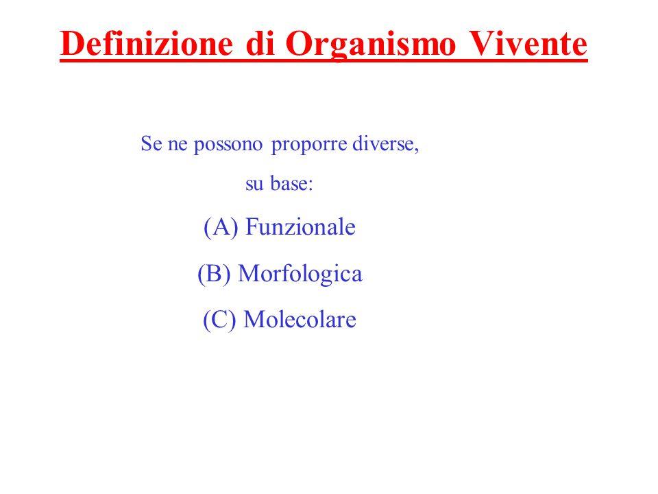 Definizione di Organismo Vivente Se ne possono proporre diverse, su base: (A) Funzionale (B) Morfologica (C) Molecolare
