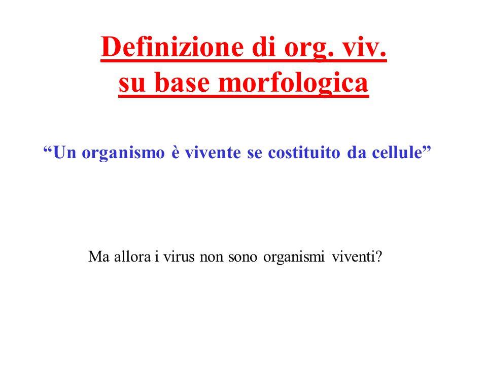 """Definizione di org. viv. su base morfologica """"Un organismo è vivente se costituito da cellule"""" Ma allora i virus non sono organismi viventi?"""