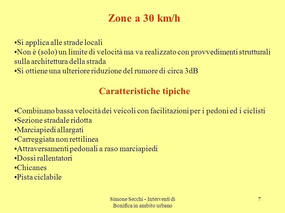 Simone Secchi - Interventi di Bonifica in ambito urbano 8 Modifica dei comportamenti abituali Rispetto dei limiti di velocità L Aeq Auto+1.7 dB ogni 10 km/h di aumento di velocità L Aeq Moto+2.8 dB ogni 10 km/h di aumento di velocità Motori e silenziatori non manomessi Stile di guida non aggressivo TipoPotenza (kW)Minuti per 10 km (L aeq ) in dB nel traffico urbano ACAC Auto53394072.667.8 Auto95394469.864.9 Moto(250cc)343576.168.8 Moto(1000cc)313476.268.2 A = aggressivo C = calmo