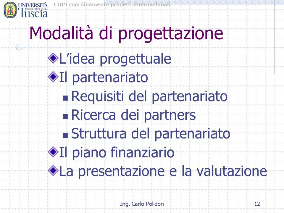 COPI coordinamento progetti internazionali Ing. Carlo Polidori12 Modalità di progettazione L'idea progettuale Il partenariato Requisiti del partenaria