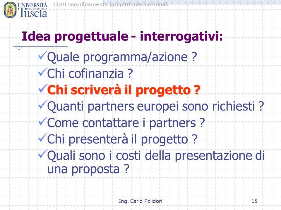 COPI coordinamento progetti internazionali Ing. Carlo Polidori15 Idea progettuale - interrogativi: Quale programma/azione ? Chi cofinanzia ? Chi scriv