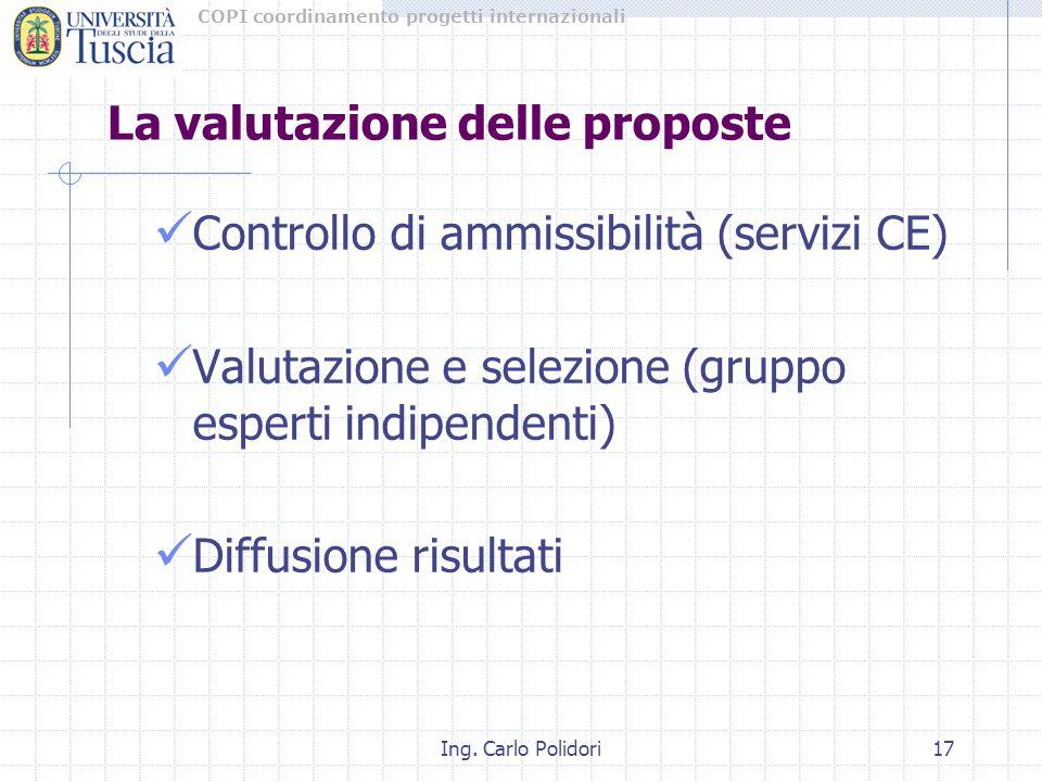 COPI coordinamento progetti internazionali Ing. Carlo Polidori17 La valutazione delle proposte Controllo di ammissibilità (servizi CE) Valutazione e s