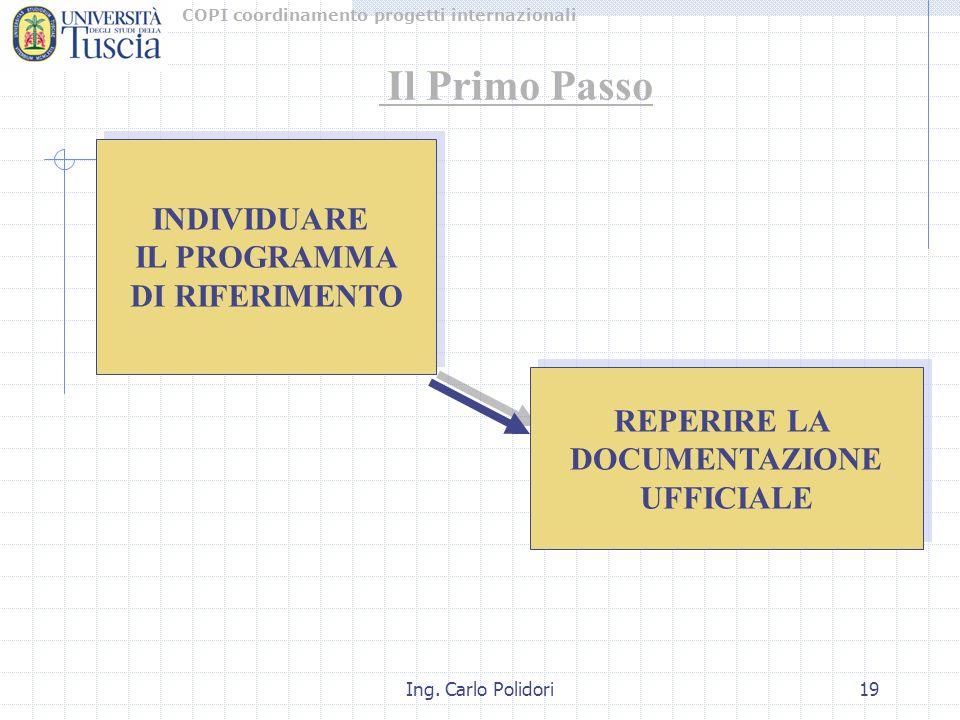COPI coordinamento progetti internazionali Ing.