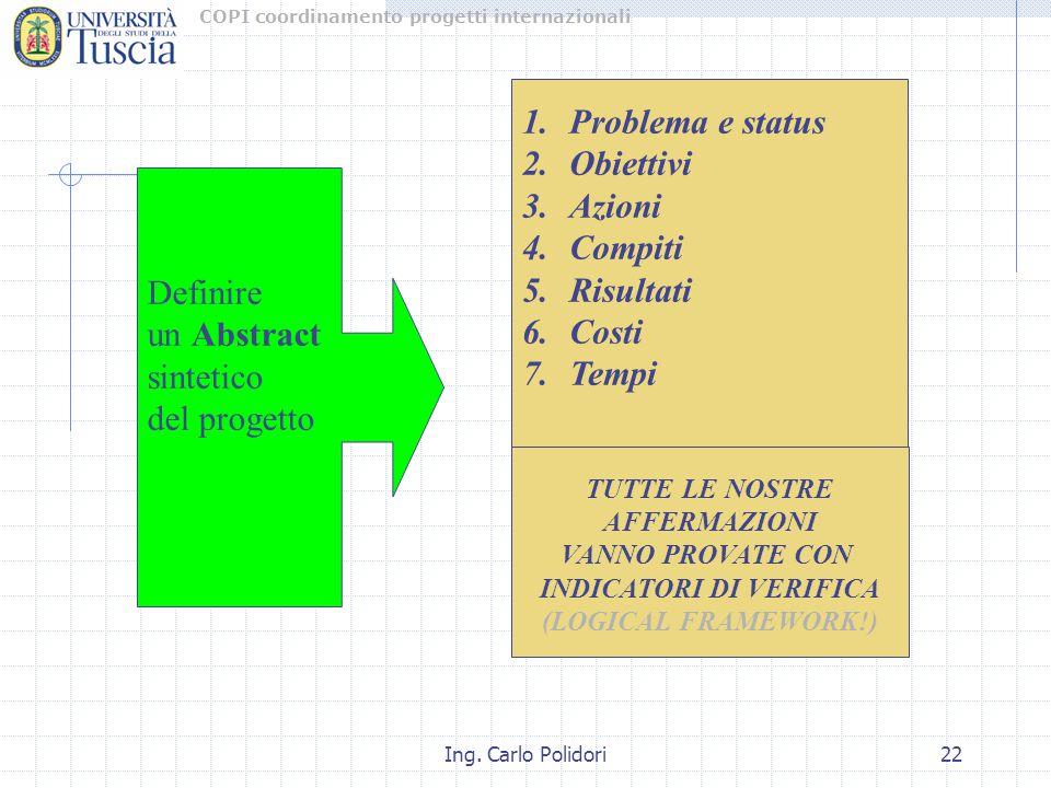 COPI coordinamento progetti internazionali Ing. Carlo Polidori22 1.Problema e status 2.Obiettivi 3.Azioni 4.Compiti 5.Risultati 6.Costi 7.Tempi Defini