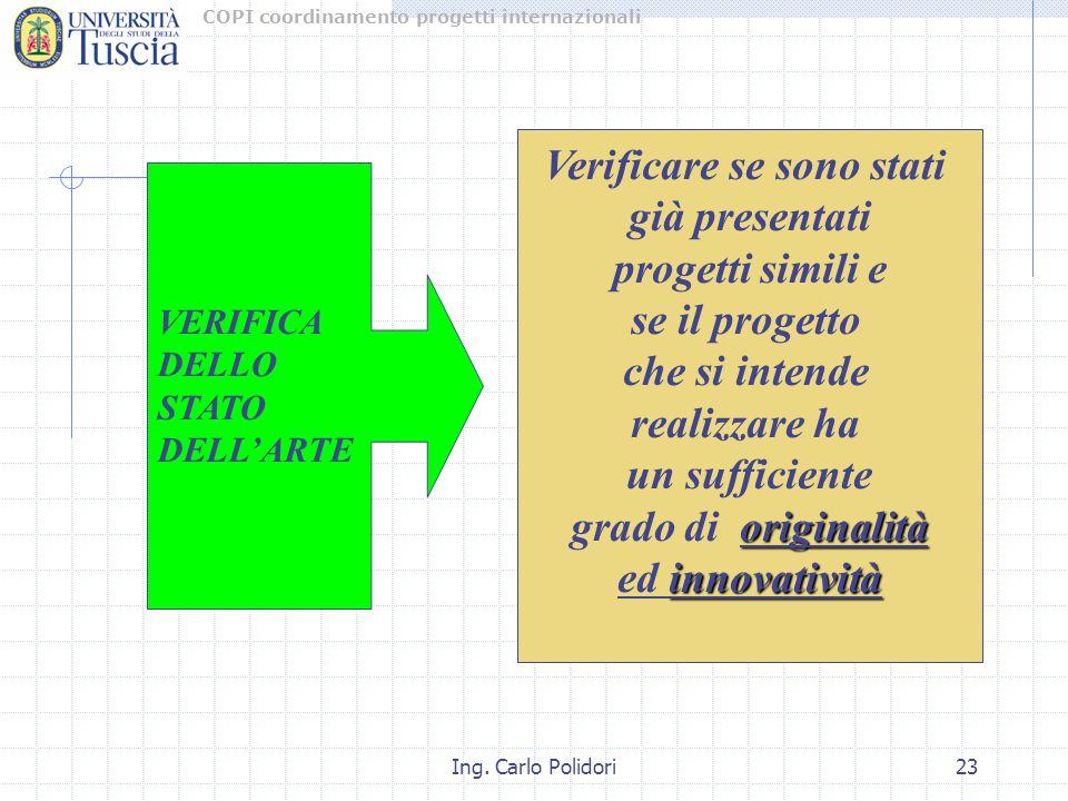COPI coordinamento progetti internazionali Ing. Carlo Polidori23 Verificare se sono stati già presentati progetti simili e se il progetto che si inten