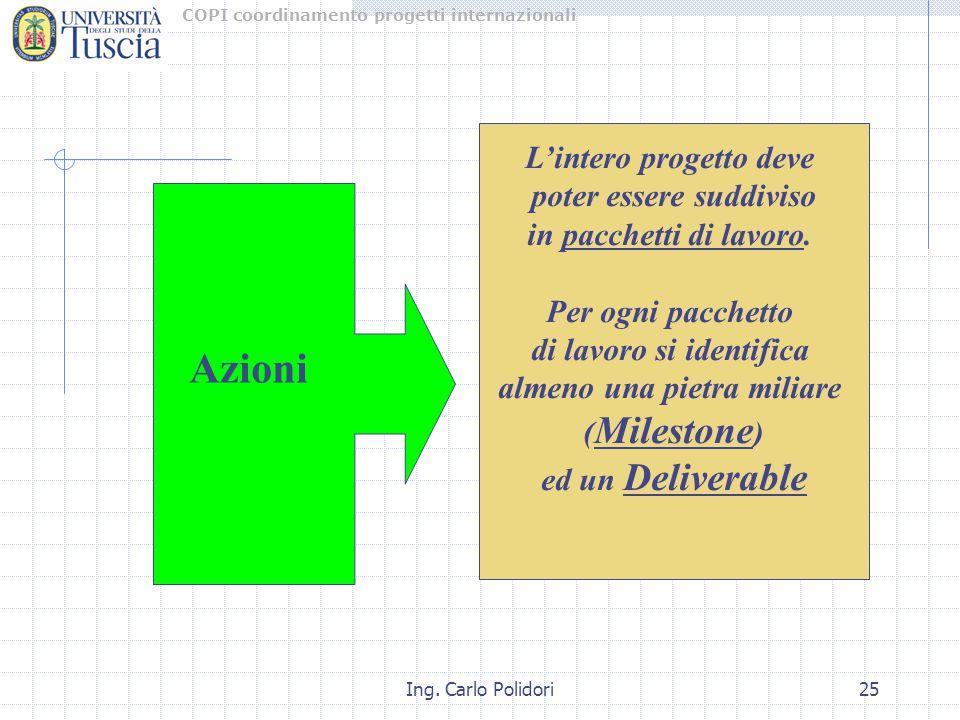 COPI coordinamento progetti internazionali Ing. Carlo Polidori25 L'intero progetto deve poter essere suddiviso in pacchetti di lavoro. Per ogni pacche