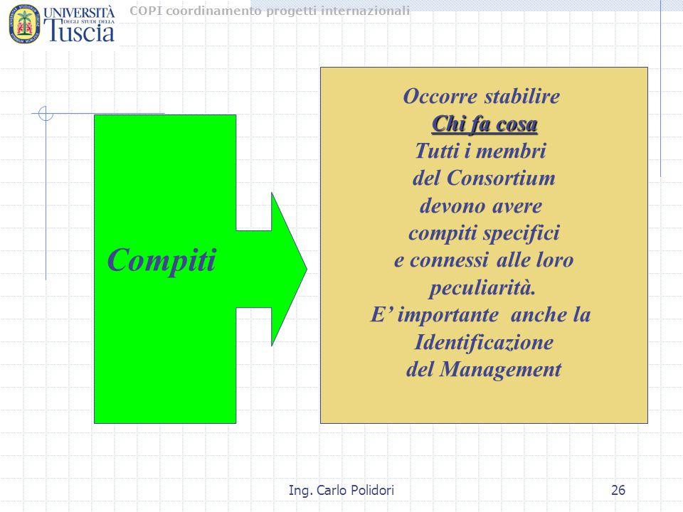 COPI coordinamento progetti internazionali Ing. Carlo Polidori26 Occorre stabilire Chi fa cosa Tutti i membri del Consortium devono avere compiti spec