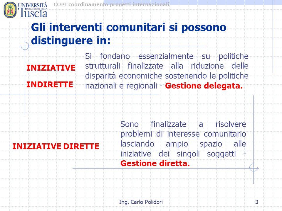 COPI coordinamento progetti internazionali Ing. Carlo Polidori3 Si fondano essenzialmente su politiche strutturali finalizzate alla riduzione delle di