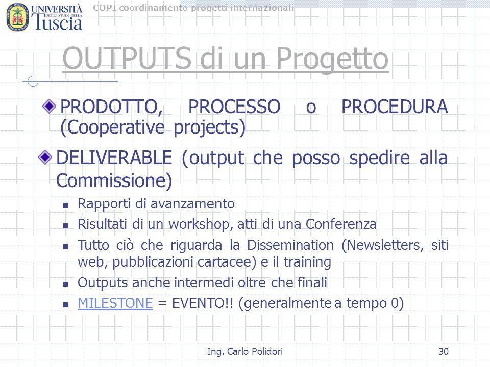 COPI coordinamento progetti internazionali Ing. Carlo Polidori30 PRODOTTO, PROCESSO o PROCEDURA (Cooperative projects) OUTPUTS di un Progetto DELIVERA