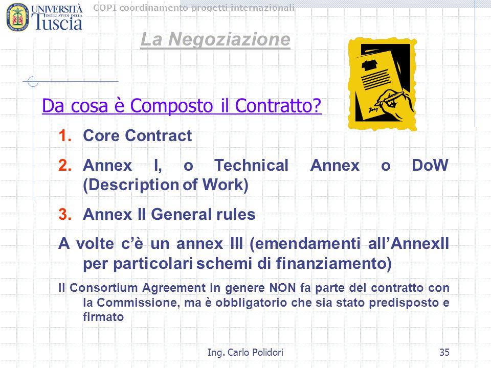 COPI coordinamento progetti internazionali Ing. Carlo Polidori35 Da cosa è Composto il Contratto? 1.Core Contract 2.Annex I, o Technical Annex o DoW (