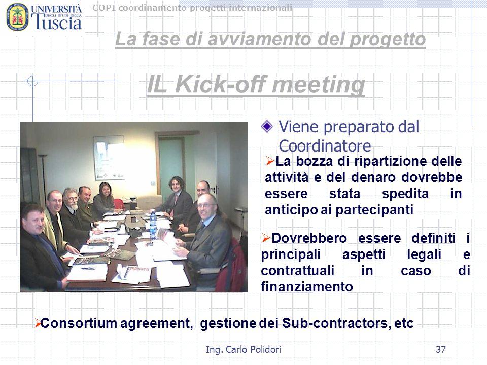 COPI coordinamento progetti internazionali Ing. Carlo Polidori37 Viene preparato dal Coordinatore IL Kick-off meeting  La bozza di ripartizione delle