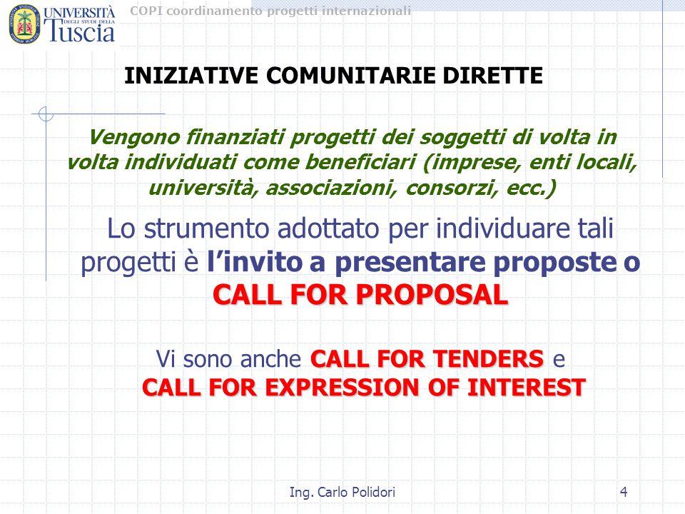COPI coordinamento progetti internazionali Ing. Carlo Polidori4 INIZIATIVE COMUNITARIE DIRETTE Vengono finanziati progetti dei soggetti di volta in vo