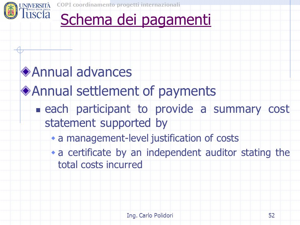 COPI coordinamento progetti internazionali Ing. Carlo Polidori52 Annual advances Annual settlement of payments each participant to provide a summary c