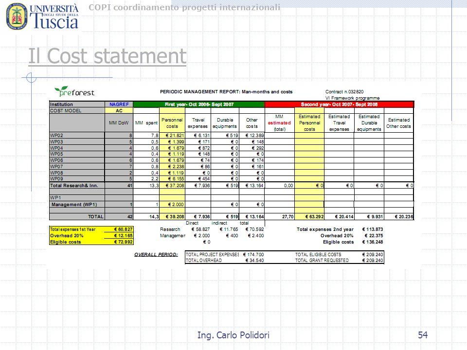 COPI coordinamento progetti internazionali Ing. Carlo Polidori54 Il Cost statement