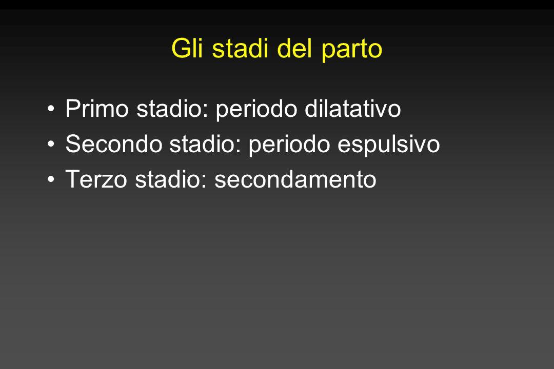 Gli stadi del parto Primo stadio: periodo dilatativo Secondo stadio: periodo espulsivo Terzo stadio: secondamento