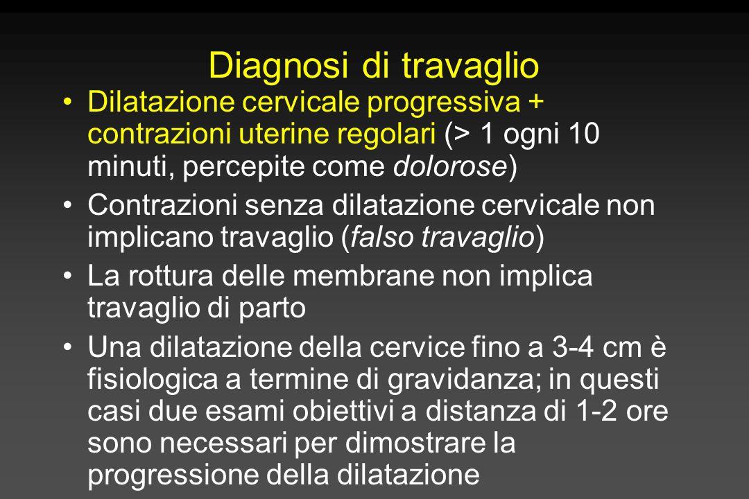 Diagnosi di travaglio Dilatazione cervicale progressiva + contrazioni uterine regolari (> 1 ogni 10 minuti, percepite come dolorose) Contrazioni senza