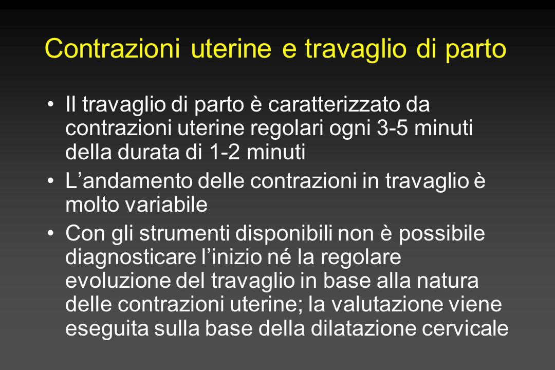 Contrazioni uterine e travaglio di parto Il travaglio di parto è caratterizzato da contrazioni uterine regolari ogni 3-5 minuti della durata di 1-2 mi