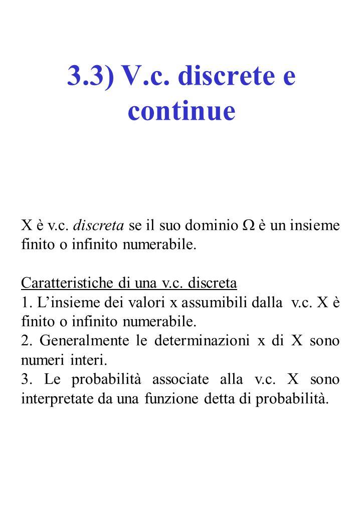 X è v.c. discreta se il suo dominio  è un insieme finito o infinito numerabile.