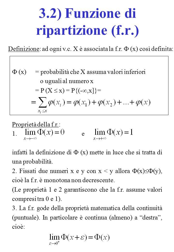 Definizione: ad ogni v.c. X è associata la f.r.