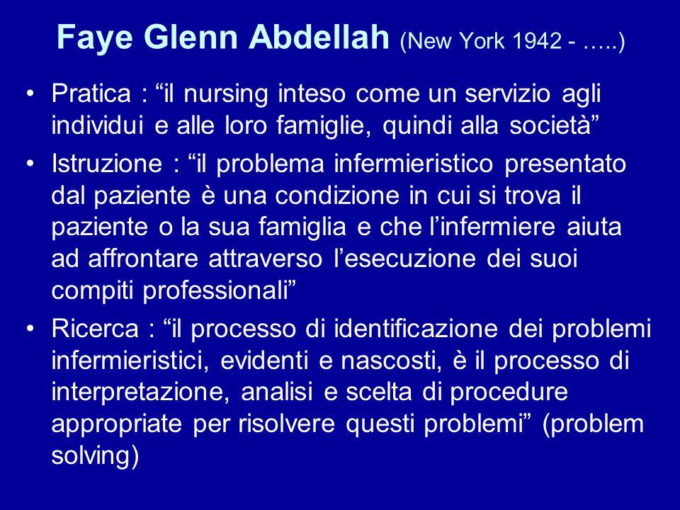 """Faye Glenn Abdellah (New York 1942 - …..) Pratica : """"il nursing inteso come un servizio agli individui e alle loro famiglie, quindi alla società"""" Istr"""