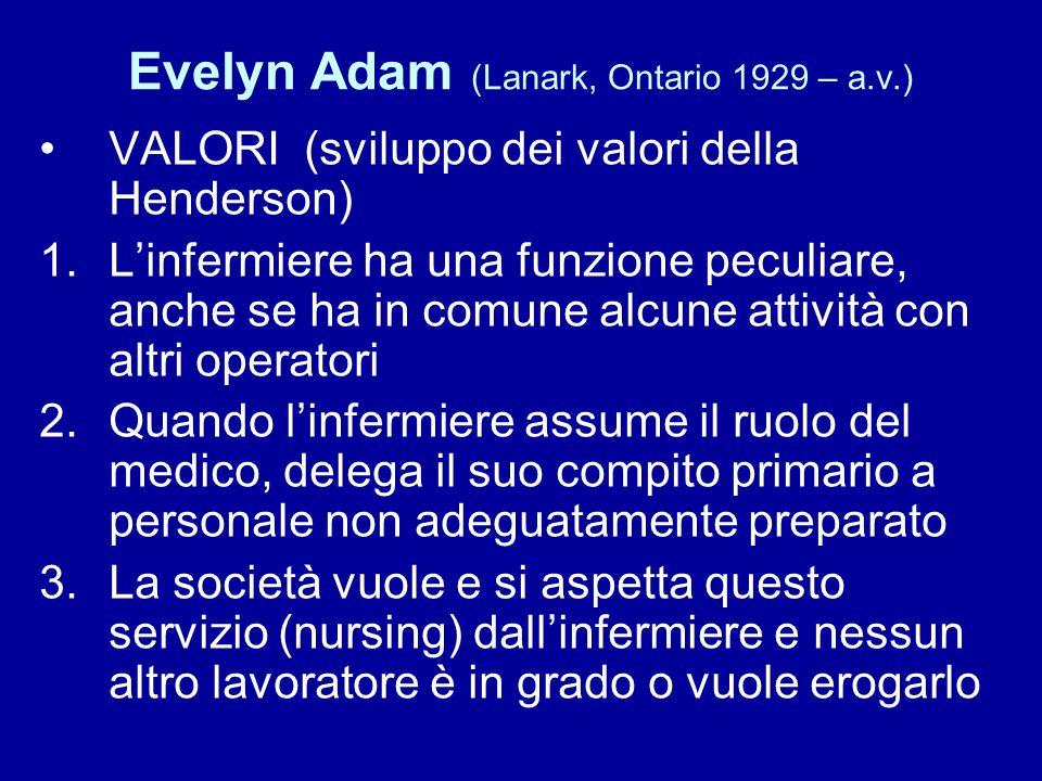 Evelyn Adam (Lanark, Ontario 1929 – a.v.) VALORI (sviluppo dei valori della Henderson) 1.L'infermiere ha una funzione peculiare, anche se ha in comune