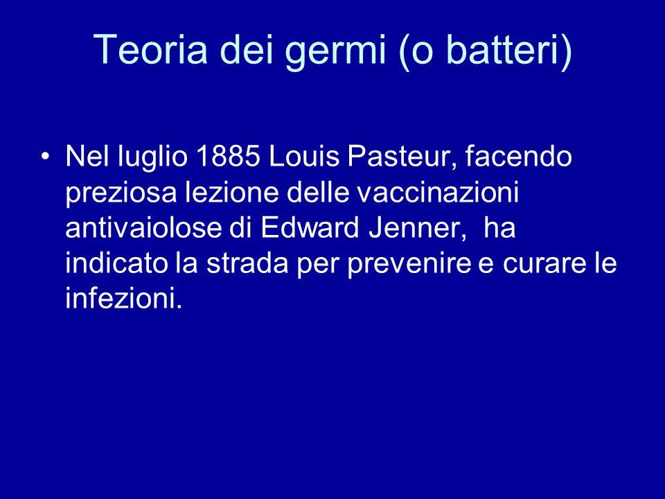 Teoria dei germi (o batteri) Nel luglio 1885 Louis Pasteur, facendo preziosa lezione delle vaccinazioni antivaiolose di Edward Jenner, ha indicato la