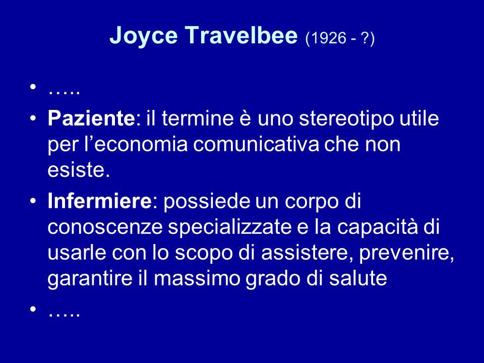 Joyce Travelbee (1926 - ?) ….. Paziente: il termine è uno stereotipo utile per l'economia comunicativa che non esiste. Infermiere: possiede un corpo d
