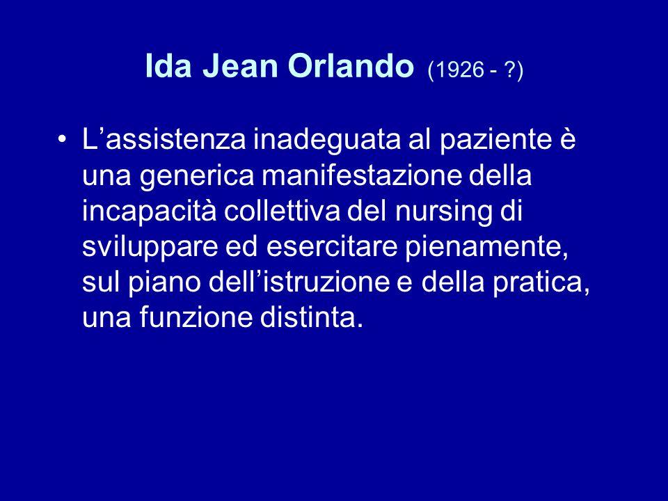 Ida Jean Orlando (1926 - ?) L'assistenza inadeguata al paziente è una generica manifestazione della incapacità collettiva del nursing di sviluppare ed