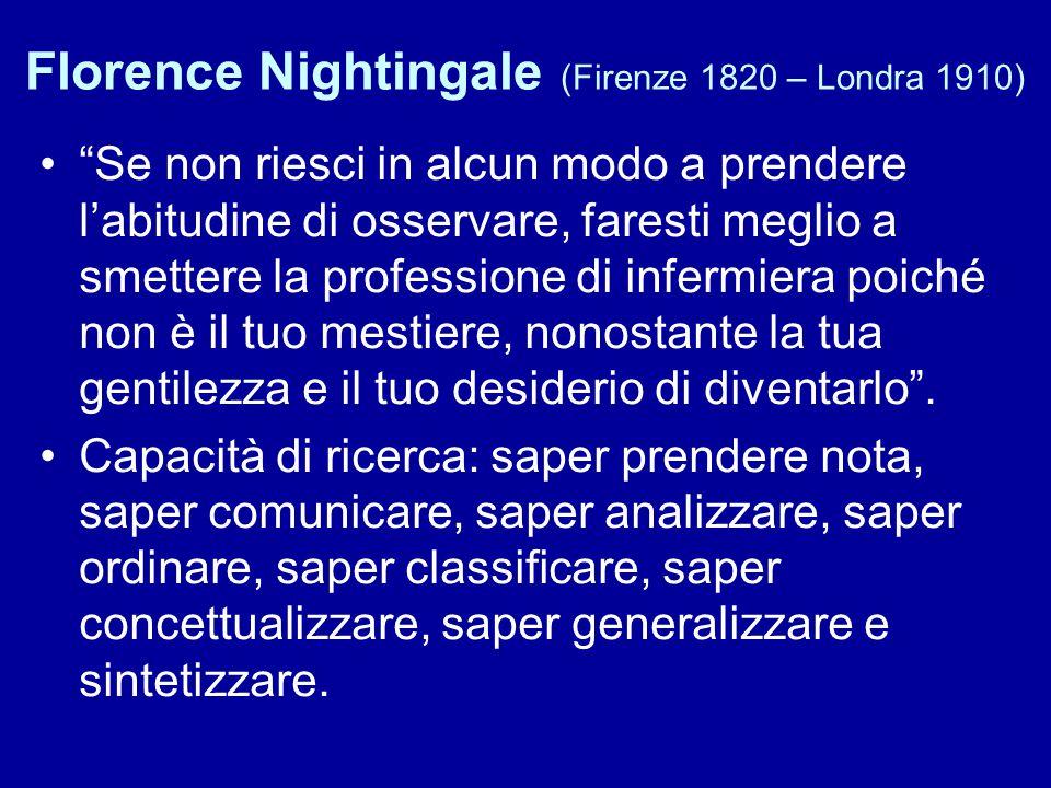 """Florence Nightingale (Firenze 1820 – Londra 1910) """"Se non riesci in alcun modo a prendere l'abitudine di osservare, faresti meglio a smettere la profe"""