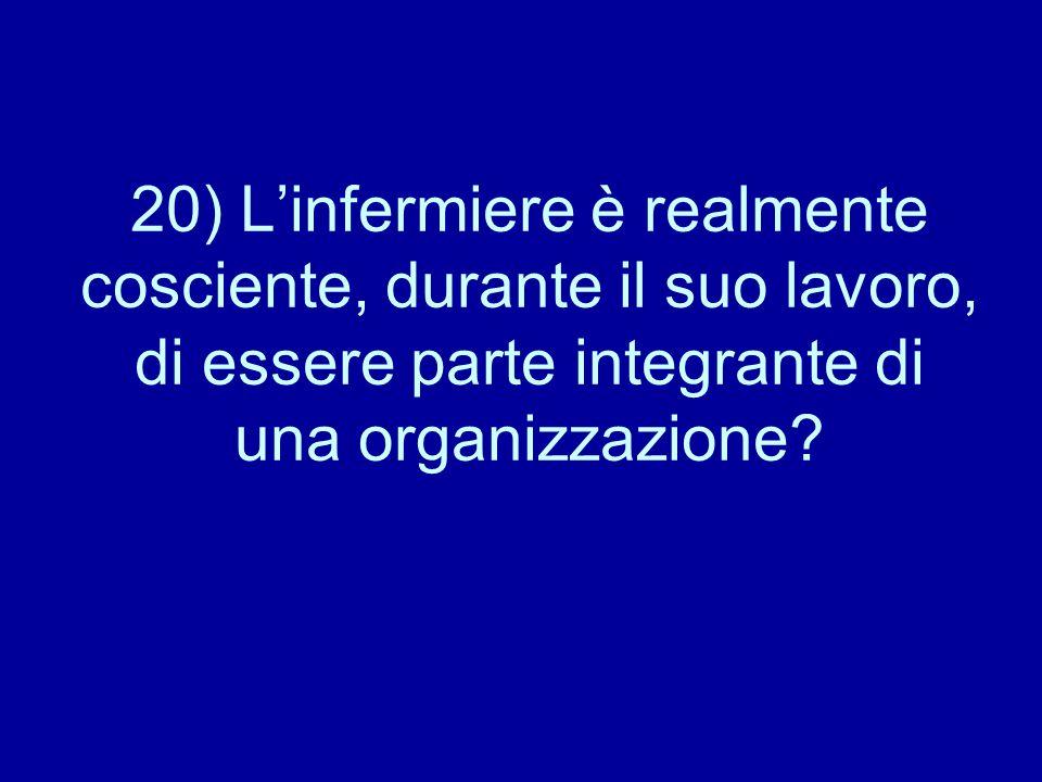 20) L'infermiere è realmente cosciente, durante il suo lavoro, di essere parte integrante di una organizzazione?