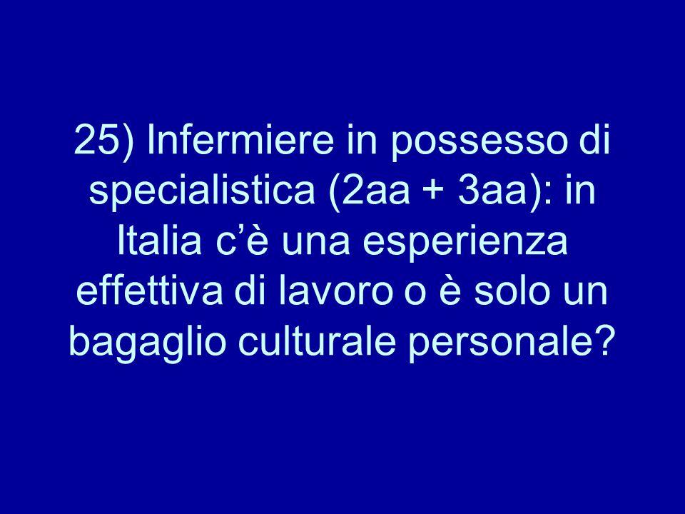 25) Infermiere in possesso di specialistica (2aa + 3aa): in Italia c'è una esperienza effettiva di lavoro o è solo un bagaglio culturale personale?